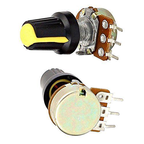 Potenciometro TOOGOO R 5pzs 10K OHM 3 Terminales Potenciometro de tipo B de audio giratorio conico lineal